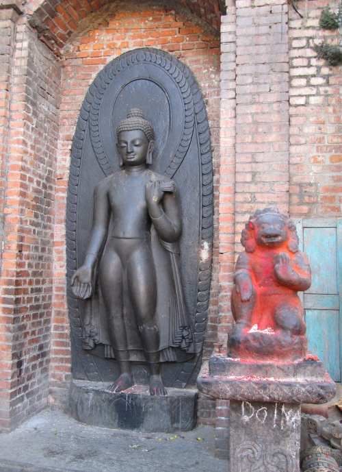 Buddha along with Hanuman at Swambhunath Temple