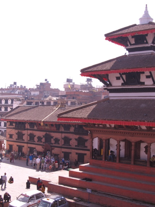Trilok Mohan Narayan Temple and Kumari Ghar to the left