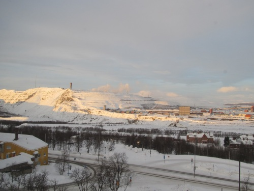 View of Kirunavvara Mountain from Scandic Ferrum Hotel